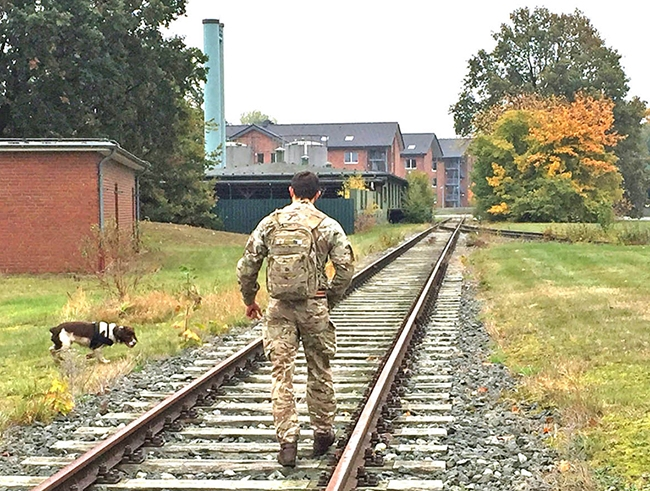 On the right track – Pte Cameron Watson with Mikey from 102 Military Working Dog Squadron working hard to clear Princess Royal Barracks