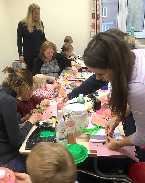 Sticky business: The craft sessions provided hours of fun for the children