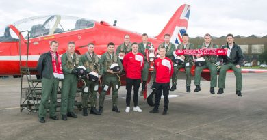 Pictured here are the Royal Air Force Aerobatic Team Pilots alongside Lincoln City FC players Paul Ferman and Terry Hawkridge during a visit to the teams home base, RAF Scampton.