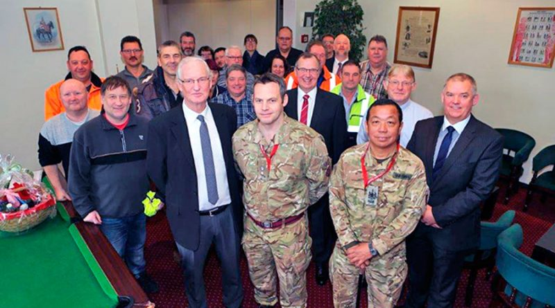 John Sutton with Lt Col Lorne McMonagle and colleagues and friends from the TSU(G)