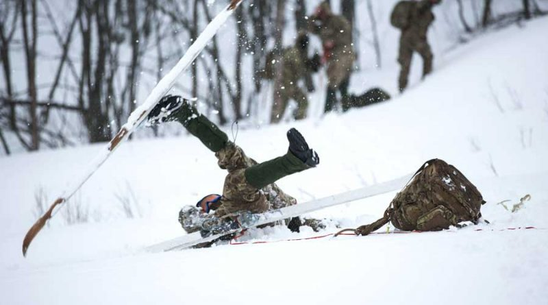 RAF Reservists take part in an avalanche demonstration.
