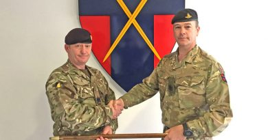 WO1 Mick Riley, left, takes over as Command Sergeant Major from WO1 Chris Jordan at Headquarters British Forces Germany