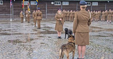 In the pouring rain 120 soldiers and two dogs from 1 MWD Regt paraded at their base in Sennelager as they prepare to re-base to North Luffenham this summer