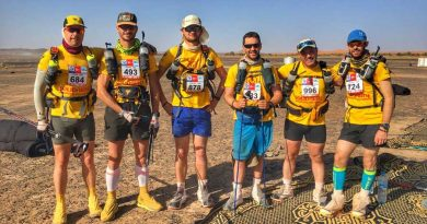 Josh and his Combat Stress team wearing the gear required to conquer the MdS