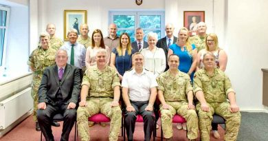 The staff of BFGHS welcomed Surg Cdre Paul Hughes at Lake House
